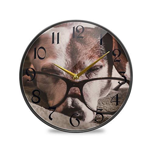 ART VVIES Reloj de Pared Redondo de 9,5 Pulgadas Que no Hace tictac silencioso Funciona con Pilas Oficina Cocina Dormitorio decoración del hogar-Gafas para Perros