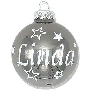 Weihnachtskugel mit Name aus Glas 6cm Wunschtext Silber Glänzend