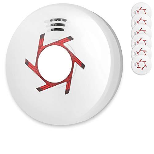 Rauchmelder 6er Set inkl. 6X 9V Batterie Geprüft Nach Din EN14604 und BSI Zertifiziert 6 Stück Rauchwarnmelder Feuermelder Brandmelder Feueralarm