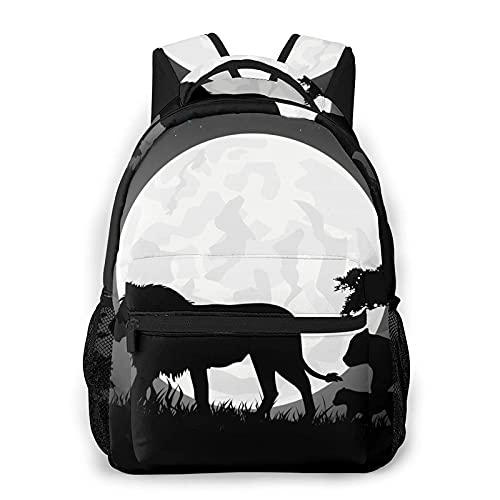AOOEDM Mochila para hombres y mujeres, hermosas siluetas de familia de leones, mochilas informales, mochilas, bandolera de viaje