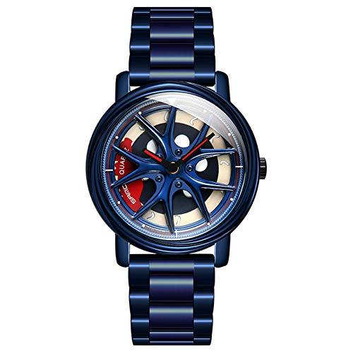 Reloj con Borde de Acero Inoxidable Personalizado, Esfera giratoria 360, Resistente al Agua, Movimiento de Cuarzo japonés, Reloj para entusiastas del automóvil para Hombres (Blue)