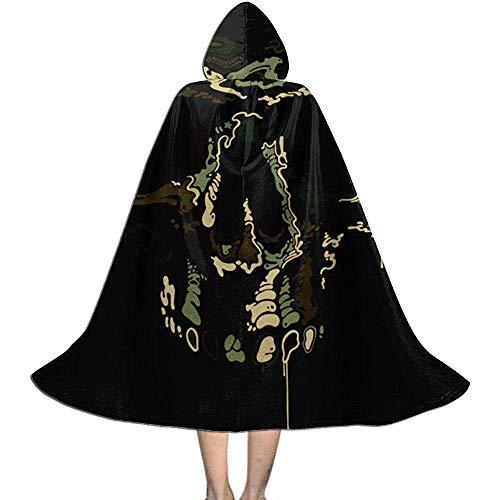 KDU Fashion Zauberermantel,Tarn-Armee-Schädel Der Piraten-Kinder Mit Kapuze Personifizierte Hexen-Umhänge Für Karnevals-Partei 138cm