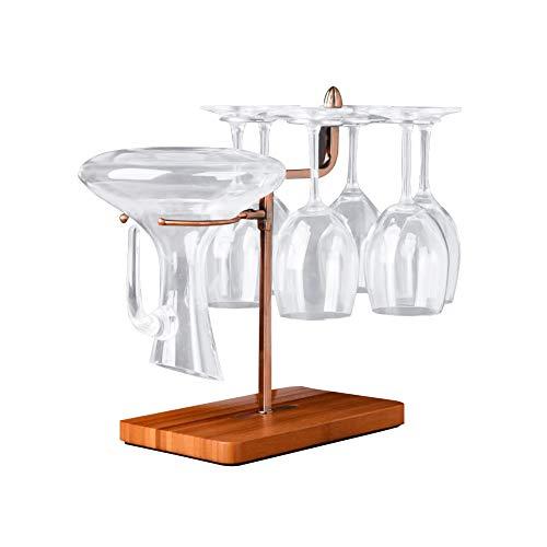 AKlamater Soporte para copas de vino, 6 tazas, metal con forma de árbol, soporte de almacenamiento con decantador de vino para encimera, gabinete, cocina, comedor, bar, hogar