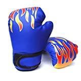JOYKK Kinderhandschuhe Atmungsaktives PU-Leder Kinder Boxhandschuh Sanda Training - Blau