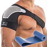 Shoulder Brace for Chronic Pain, Torn Rotator Cuff Brace, Right or Left Shoulder Compression Sleeve, Adjustable Shoulder Immobilizer, Best Shoulder Support Brace for Men and Women (Small-Medium)