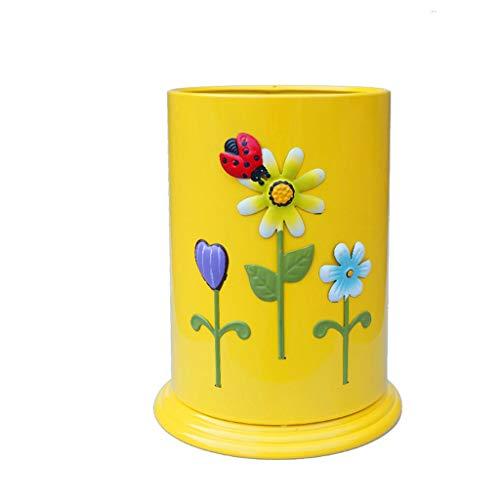 liushop Cubo de Basura Creativo Retro Bote de Basura Hotel Dormitorio Cocina Bote de Basura Proceso de Pintura en Aerosol Multicolor 10L Opcional Bote de Basura (Color : YellowA)