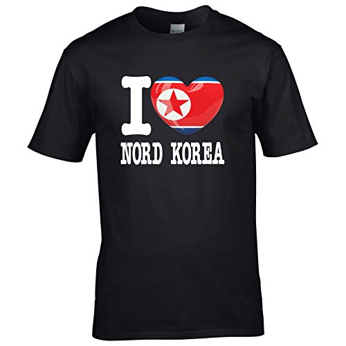 FanShirts4u Herren T-Shirt - I Love Nord Korea/North Korea - WM Trikot Liebe Herz Heart (S, Schwarz - I Love Nord Korea)