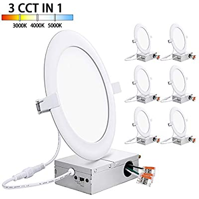 150W Equivalent 6 Inch Canless LED Recessed Lighting with Junction Box Ultra-slim 15W, 1400LM, 3 Color Temperature Switchable 3000K | 4000K | 5000K, Dimmable LED Downlight Ceiling Light 6in, Pack of 6