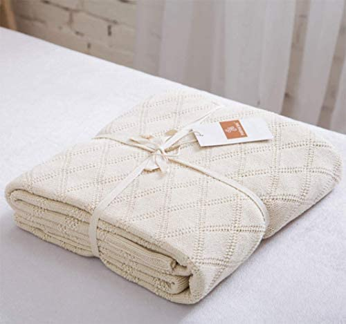 Best Longhui bedding Cotton Cable Knit Throw Blanket for Couch Chairs Beach Sofa, Home Decorative Blanket