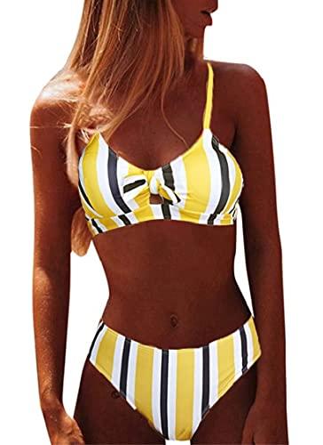 CheChury Brazilian Bikini Damen Set Push Up Sexy Triangel Bikini Oberteil Gepolstert Zweiteiliger Badeanzüge Split Strandkleidung - Gelb - M