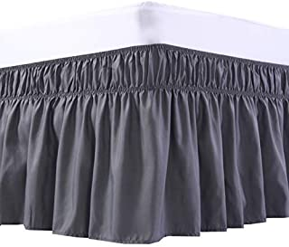 MEILA Bed Skirt Three Fabric Sides Elastic Wrap Around Dust Ruffled Solid Bed Skirts Easy On/Easy Off 16 Inch Tailored Drop, Dark Grey, Queen/King