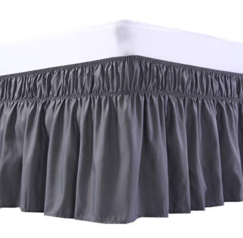 MEILA Wrap Around Bed Skirt Three Fabric Sides Elastic Dust Ruffled 16 Inch Tailored Drop,Easy to Install Fade Resistant-Dark Grey, Queen/King