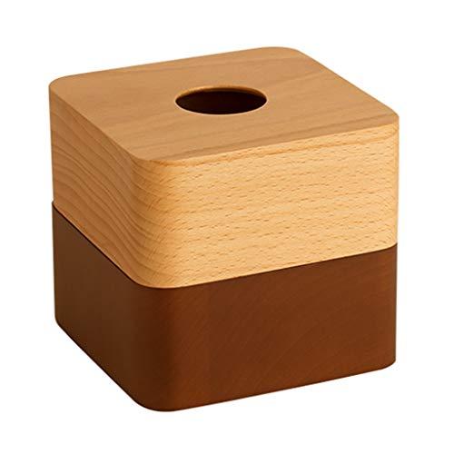Ghh11 - Caja de pañuelos de madera maciza para sala de estar, mesa de café, bandeja para el hogar, decoración de escritorio (color marrón, tamaño: 12,5 x 12,5 x 11,5 cm)