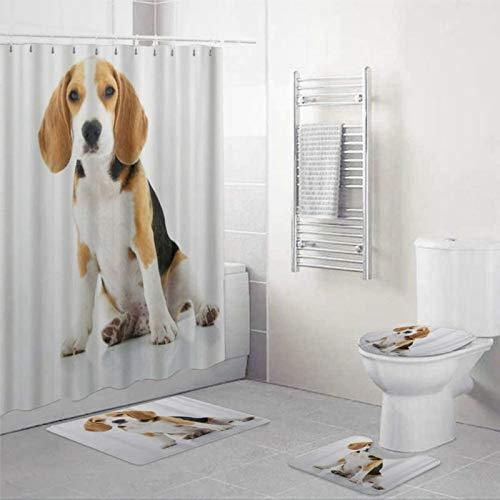 BYRON HOYLE Moderner Duschvorhang mit Ringen, Beagle-H&, Polyester-Stoff, Duschvorhänge mit Haken, Baddekoration, 152,4 x 182,9 cm