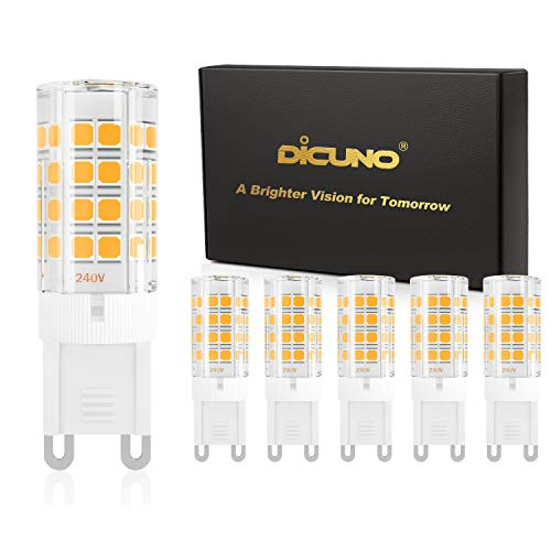 DiCUNO G9 LED Bulb 4W (40W Halogen Equivalent), 450LM Warm White 3000K, 110V 120V G9 Ceramic Base Non-dimmable Light Bulb for Ceiling Light, Under Cabinet (6-Pack)
