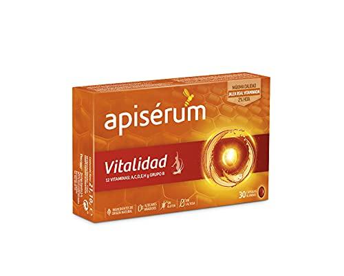 Apisérum Vitalidad Cápsulas - Jalea Real con Vitamina C - Multivitamínico - Vitaminas A,C,D,E,H y grupo B - Ayuda a reforzar el sistema inmunitario* - Tratamiento para 1 mes