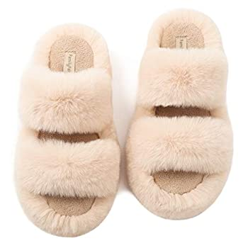 FamilyFairy Women s Fluffy Faux Fur Slippers Comfy Open Toe Two Band Slides with Fleece Lining and Rubber Sole  Middle / 7-8 Beige