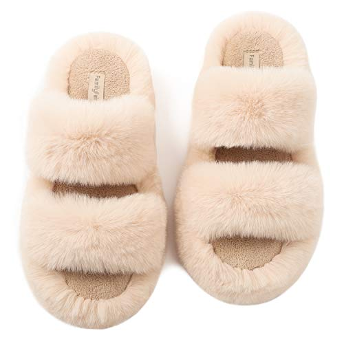FamilyFairy Women's Fluffy Faux Fur Slippers Comfy Open Toe Two Band Slides with Fleece Lining and Rubber Sole (Large / 9-10, Beige)