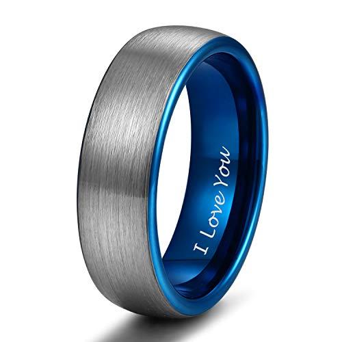 4mm 6mm 8mm Tungsten Ring Wedding Band for Men Women Engraved I Love You Matte Brushed