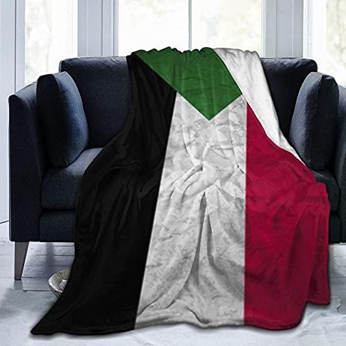 Sudan-Flagge, leicht, für alle Jahreszeiten, Fleece, Bettüberwurf, Decke für Zuhause, Reisen, Couch, Sofa, 3 Größen