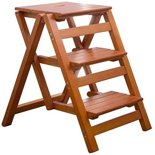 MGE 3 Schritte Hölzerne Trittleiter Klapphocker, Treppenleiterstühle Stühle, Faltbarer Trittleiter Leiter Regal(Color:Walnussfarbe)