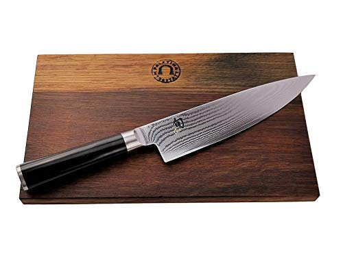 Kai Shun Classic Geschenkset | DM-0706 Kochmesser | 20 cm Klinge aus 32-Lagen Damaststahl | ultrascharfes Japan Messer | + großes Schneidebrett aus Fassholz (Eiche) 25x15 cm | VK: 229,95 €
