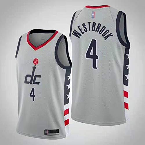 Wo nice Uniformes De Baloncesto para Hombre, Washington Wizards # 4 Russell Westbrook Camisetas De Baloncesto De La NBA Primavera Y Verano Deportivo Chaleco Superior Camiseta,Gris,XL(180~185CM)