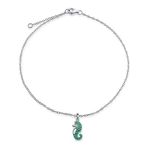Caballito De Mar Náutica Esmalte Verde Azulado Estrella Colgante Encanto Pulsera Tobillera Para Mujer 925 9-10 Pulg.