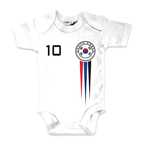 net-shirts Organic Baby Body mit Süd Korea South Korea Trikot Aufdruck Fußball Fan WM EM Strampler - Spielernummer wählbar, Größe 12-18 Monate-Spielernummer 01
