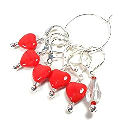 Knitting stitch markers shaped as hearts from THBdesigns at Amazon.