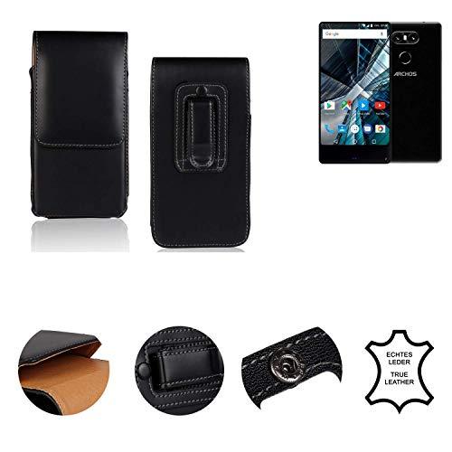K-S-Trade® Holster Gürtel Tasche Für Archos Sense 55 S Handy Hülle Leder Schwarz, 1x