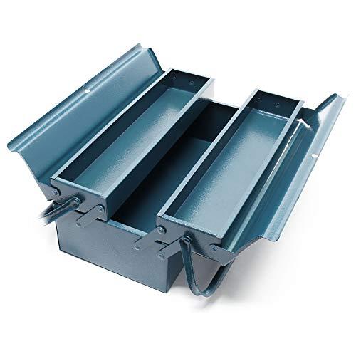 Werkzeugkiste 420x200x160mm aus Stahl mit 3 Fächern Werkzeugkasten mit Handgriff Werkzeugbox