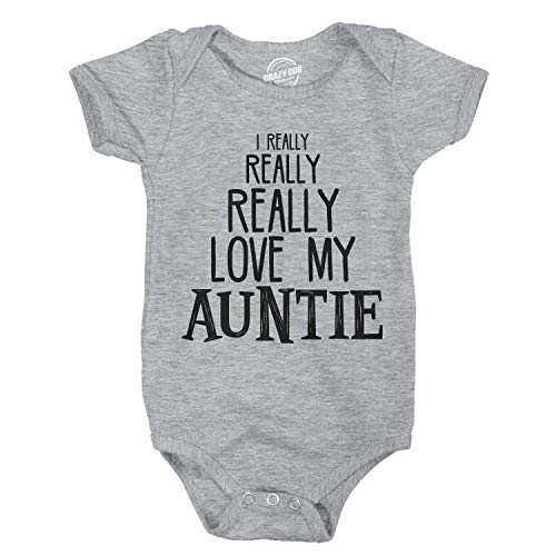 Baby Really Really Love My Auntie Cute Funny Shirt Infant Creeper Gift Aunt (Light Heather Grey) - 6 Months