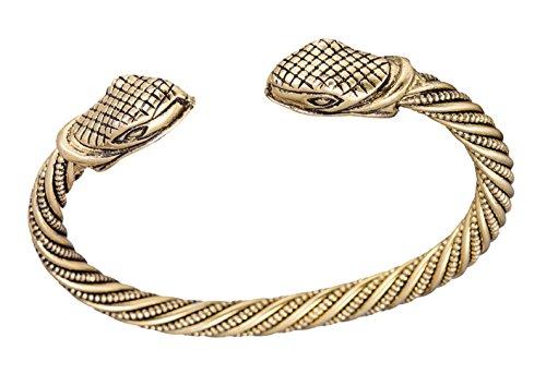 Dawapara Torque Nórse Boho Estilo Vikingo serpiente serpiente cabeza brazalete brazalete para hombre y mujer joyería (oro antiguo)
