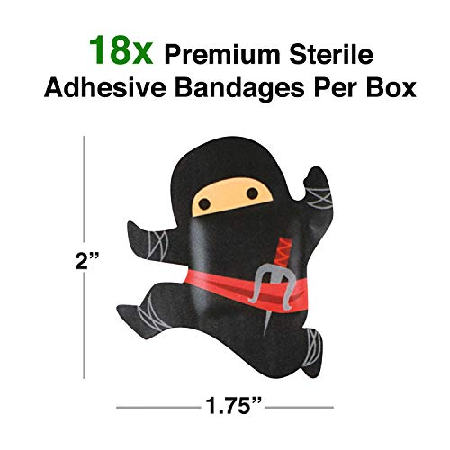 GAMAGO Ninja Bandages for Kids & Kidults - Set of 18 Individually Wrapped Self Adhesive Bandages - Sterile, Latex-Free, Antibacterial, & Easily Removable - Funny Gift & First Aid Addition