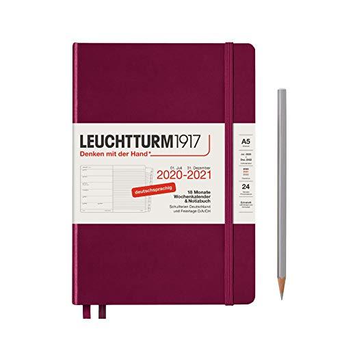 Wochenkalender und Notizbuch 2021 Hardcover Medium (A5), 18 Monate, Port Red, Deutsch