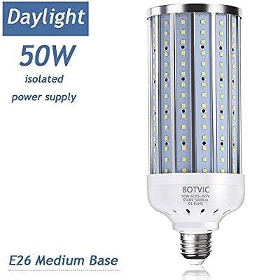 LED Corn Light Bulb 50W (350W Equivalent 5000 Lumen 6500k) Cool Daylight White LED Corn Lights E26/E27 Medium Base for Indoor Outdoor Garage Factory Warehouse Backyard