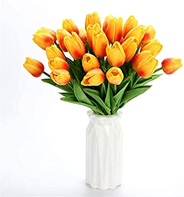 12 Pcs PU Artificial Tulips Flowers Real Touch Tulips Wedding Flower Simulation Latex Tulip Flower for Proposal Party Home Hotel Event Decoration (Yellow)