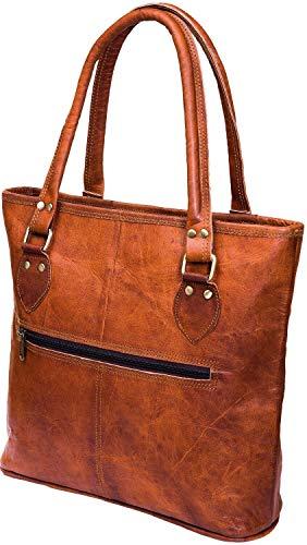 14 Inch Leather Shoulder Tote Einkaufstasche Geschenk für Frauen und Mädchen | Handtasche Geldbörse mit Top Griff Laptop Tablet Büro Tasche Windel Tasche Reisetasche
