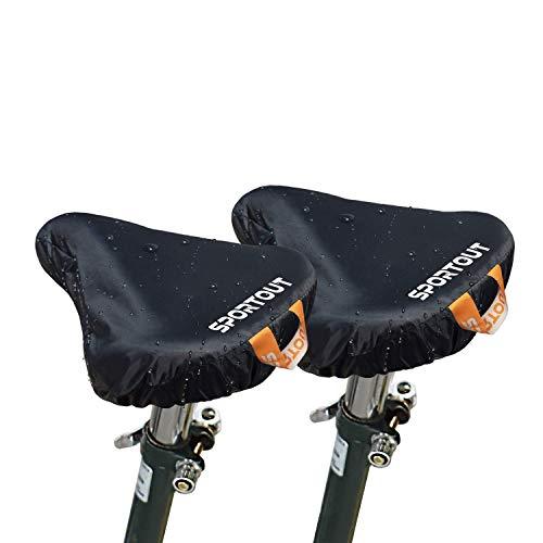 Wasserdichte Fahrradsattelabdeckung,elastische Wasserfeste Fahrradsattel Schutzhülle, Passend für den Meisten Fahrradsattel wie Rennrad, Mountainbike, Damenrad, E-Bike u.s.w.(2PCS) (2-PACK Black)