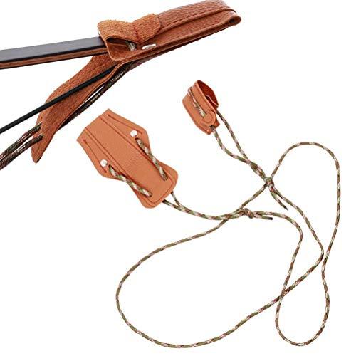 Cuerda tensora recurva y arco largo, correa de piel con disco, arco recurvo para arco largo tradicional