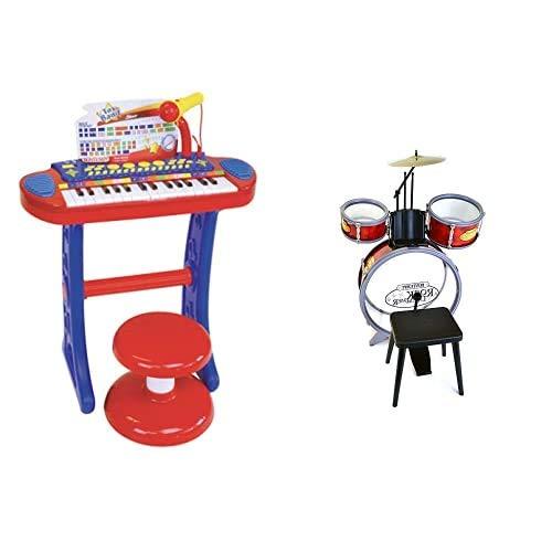 Bontempi 13 3240, Tastiera 32 Tasti Microfono E Sgabello & 51 4504, Batteria A Tre Elementi, Munita di Sgabello E Bacchette