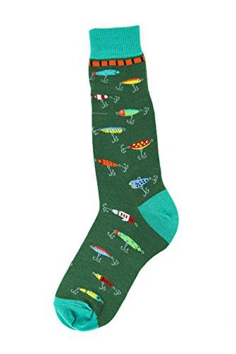 Foot Traffic, Men's Outdoors-Themed Socks, Fishing Lures (Shoe Sizes 7-12)