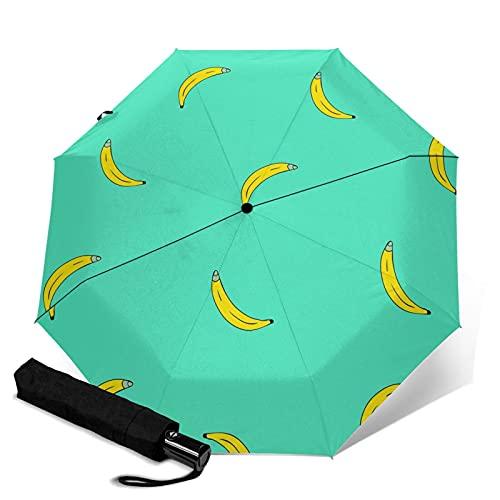 Pengfly Planta de plátano patrón paraguas de planta tropical plegable sombrilla de frutas tropicales tela anti-ultravioleta resistente a la corrosión para lluvia al aire libre