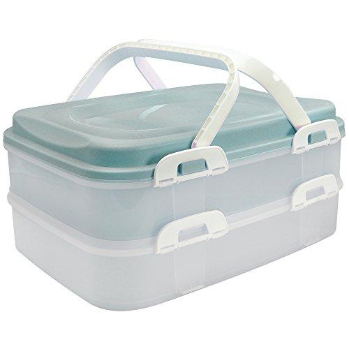 com-four® Partycontainer Transport-Box, Kuchenbehälter und Lebensmittelbox mit 2 Etagen und Hebeeinsatz, in türkis pastell (001 Stück - türkis pastell)