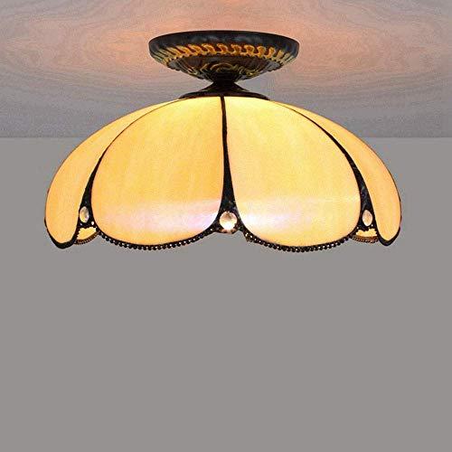 ZGQA-Lámpara de techo moderna de iluminación europea minimalista vitral de cristal para restaurante, dormitorio, pasillo, baño, ocre, lámpara de techo, 30 cm