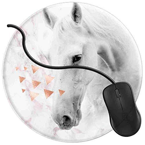 QCFW Tapis de Souris Cheval Blanc Amoureux Rose Rose Marbre pour Equestre Mousepad Tapis de Souris Gaming Base en Caoutchouc Antidérapante,Résistant à Usure 2T3708