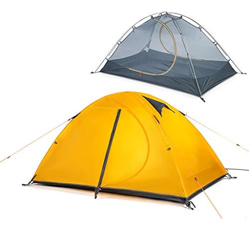 ZSP Carpas Ultraligero Tienda de campaña 2 Persona 20D de Silicona Fácil de configurar Doble Capa Impermeable Carpa 3 Temporada de Senderismo Ciclismo Tienda al Aire Libre (Color : Yellow)