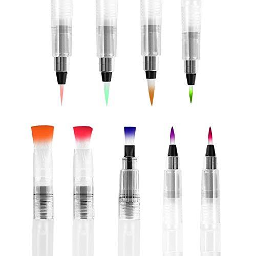 TATAFUN 9 Stück Wasserpinsel Stifte, Water Brush Pen mit Befüllbarer Wassertank, Wasserpinsel Aquarellfarben Fine Point Pinsel Flachpinsel Tip Zeichnen Set