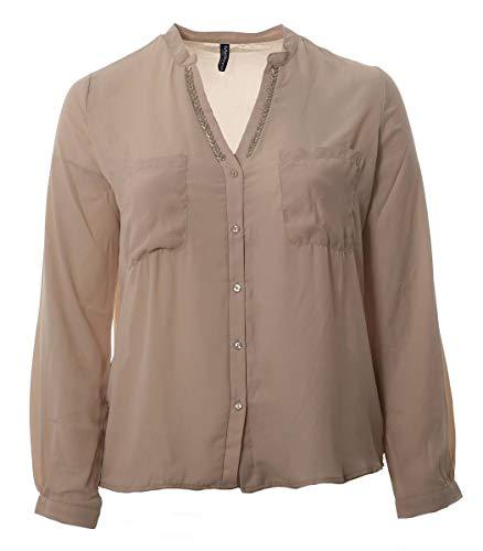 Madonna Mode Chiffon Bluse Langarm Shirt leicht transparent durchsichtig Beige, Größe:M